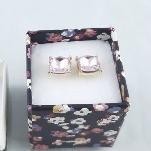 Brand NEW Pink Gemstone earrings with gold bezel
